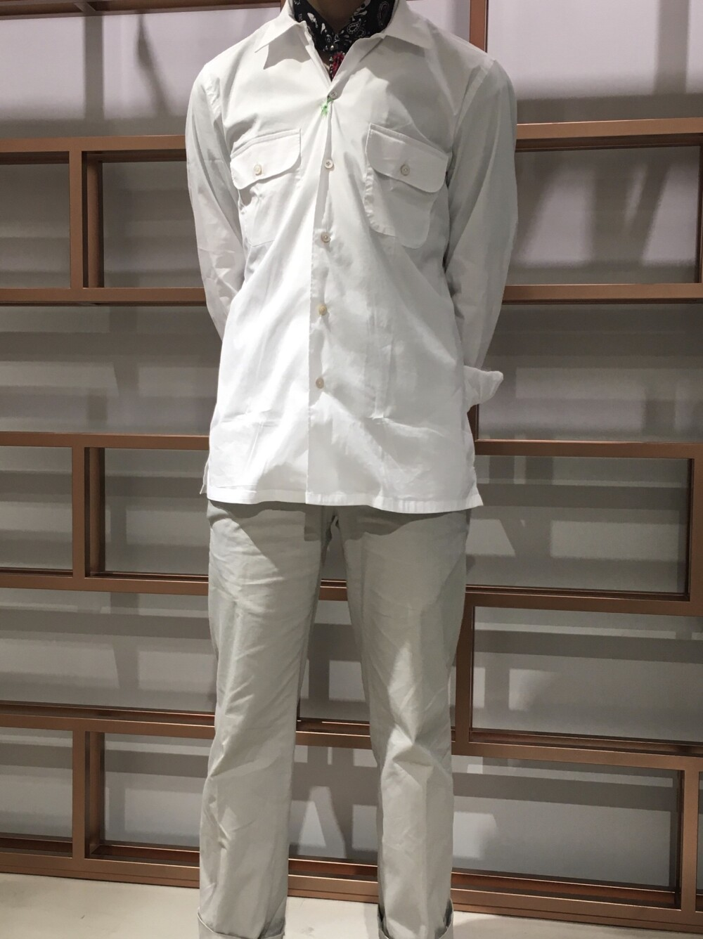 フィナモレ別注オープンカラーシャツ
