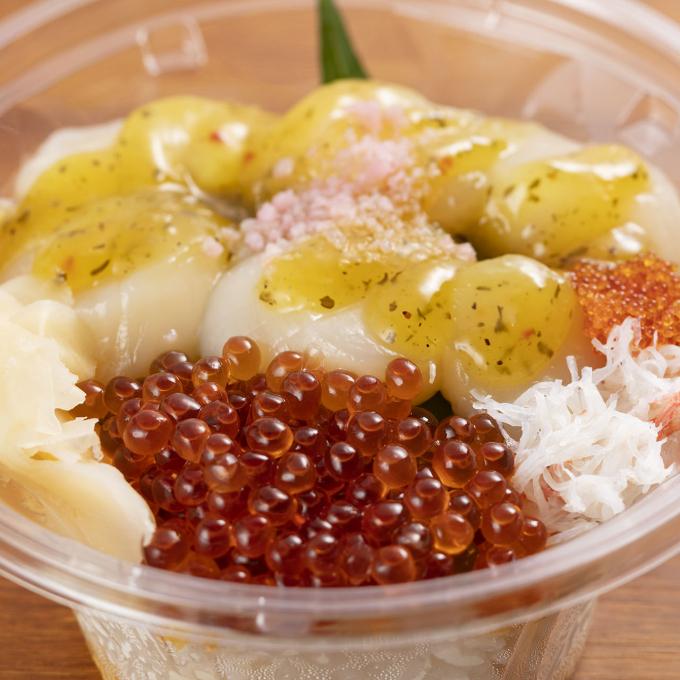 ホタテ・イクラ丼(オリーブソース)