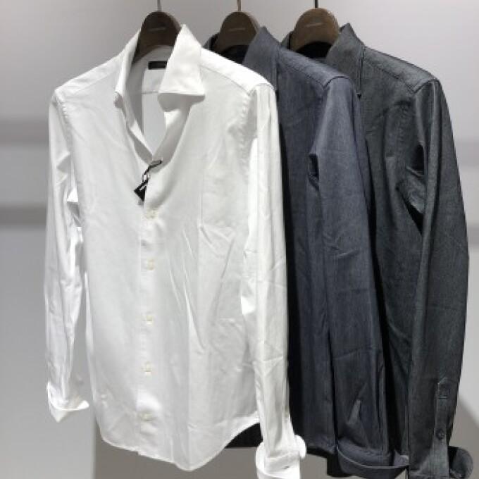 ALBINI  シャンブレーワンピースカラーシャツ