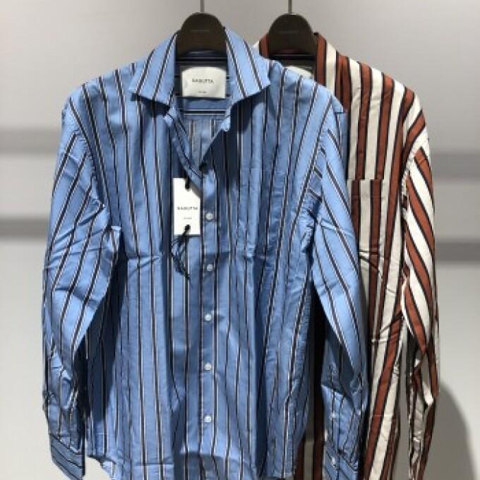 BAGUTTA ストライプオープンカラーシャツ