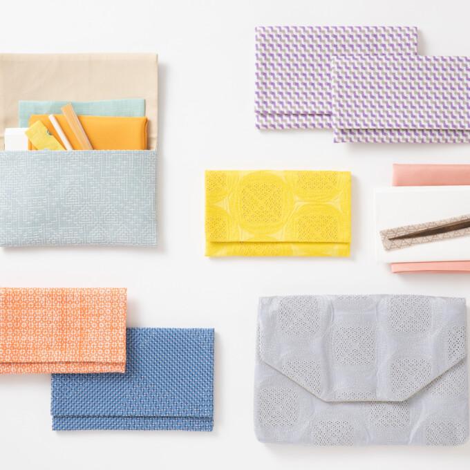 【見世】懐紙入れ・数寄屋袋に色とりどりの新しいテキスタイルが登場