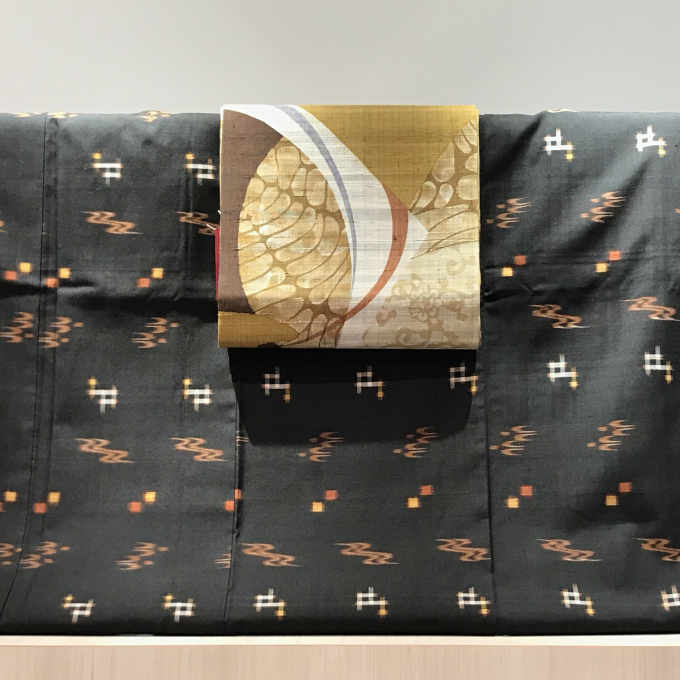 本場久米島紬としょうざん生紬の染名古屋帯