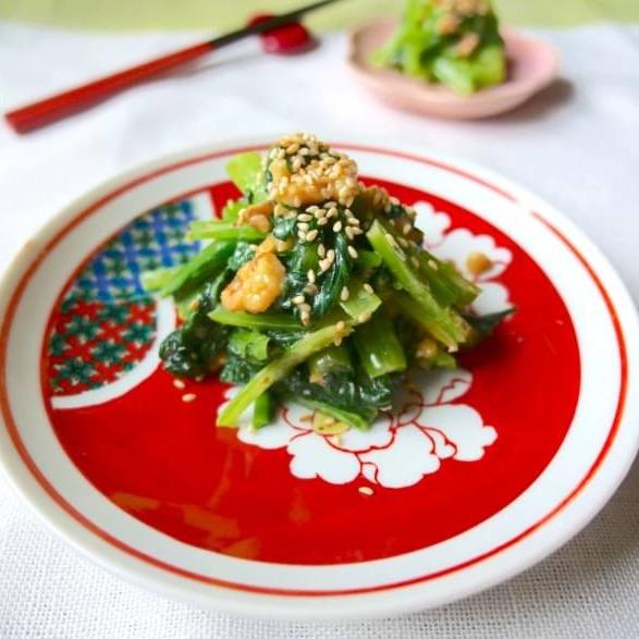 大源の味噌で作る『小松菜のくるみ味噌和え』✨