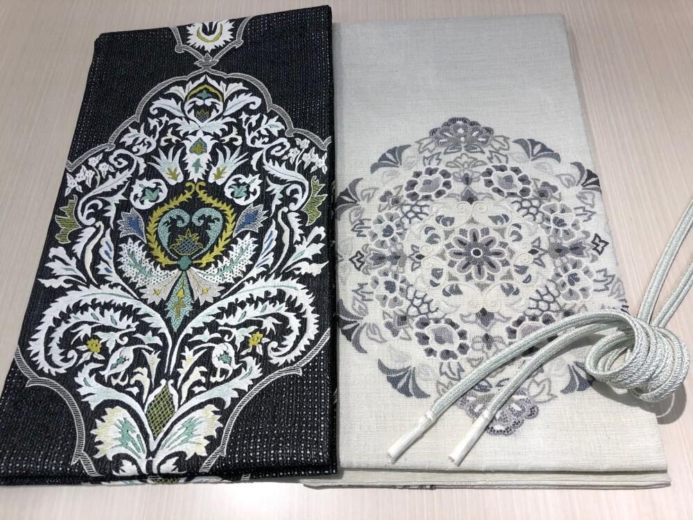 夏の刺繍帯 二選
