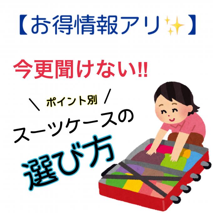 【お得情報アリ✨】今更聞けない‼︎ポイント別スーツケースの選び方