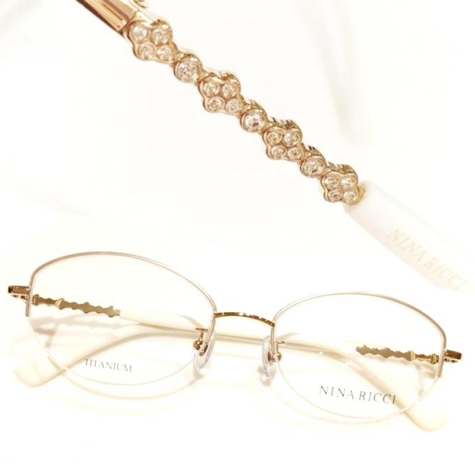 シンプルで華やかビジュー入り眼鏡フレーム ニナリッチ 新作入荷