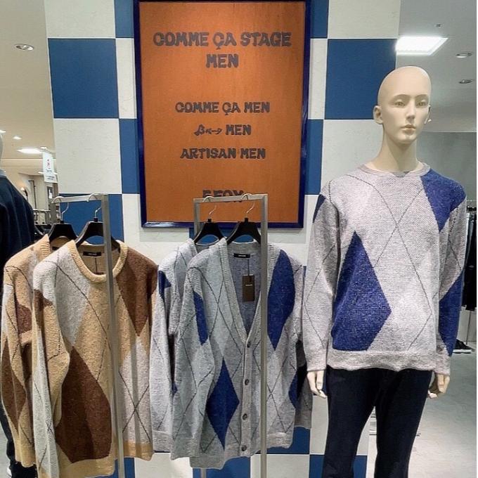 〈コムサステージメン〉チェック柄セーターで迎える秋🍁